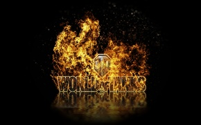 Picture reflection, fire, logo, tanks, WoT, world of tanks, World of Tanks