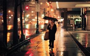 Picture lights, girl, nights, umbrella, street