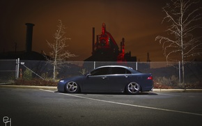 Picture night, the city, the fence, Honda, accord, stance, Acura TSX