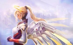 Wallpaper Overwatch, Game, Mercy, Blizzard Entertainment