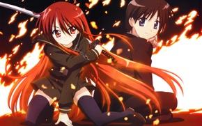 Picture girl, weapons, fire, katana, anime, art, pendant, guy, chain, shakugan no shana, shana, sitting, ognelisa ...