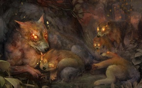 Picture forest, pack, wolves, art, dragons crown