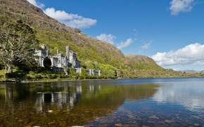 Picture the sky, clouds, mountains, lake, slope, Ireland, Kylemore Abbey