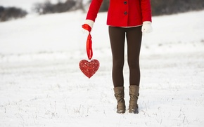Picture winter, snow, clothing, heart, Girl, legs