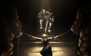 Wallpaper sword, warrior, elf, chain, the throne, prisoner