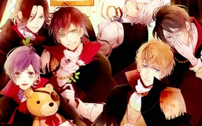 Picture art, guys, vampires, brothers, smile, Diabolik Lovers