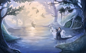 Picture water, girl, trees, nature, river, fiction, animal, elf, art