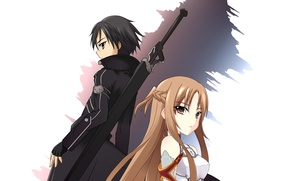 Picture girl, anime, sword art online, yuuki asuna, kirito, sao, kirigaya kazuto