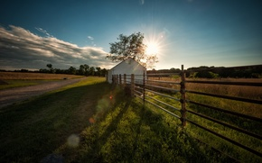 Picture road, landscape, house, the fence