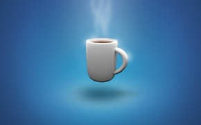 Picture wallpaper, steam, blue, background, cup, Coffee, cool, coffecup