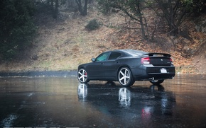 Picture machine, auto, trees, Dodge, drives, auto, Black, Charger, Matte, Face, Wheels, feed, Concave, Machined, CW-5