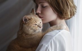 Picture cat, love, face, woman