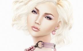 Picture look, girl, face, portrait, blonde, mole, earring