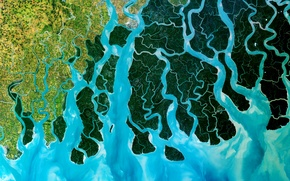 Picture photo, satellite, India, the Ganges Delta, Bangladesh