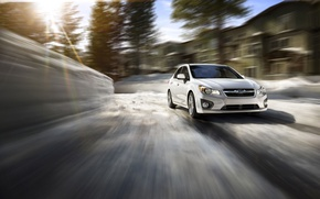 Picture winter, the sun, speed, Subaru, Impreza