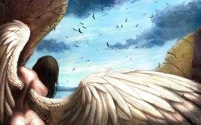 Picture the sky, girl, wings