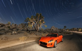 Picture Jaguar, The sky, Auto, Road, Stars, Desert, Orange, F-Type, V8S