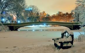 Wallpaper winter, snow, trees, bench, night, bridge, lights, pond, Park, home, New York, USA