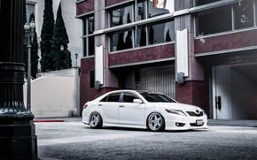 Picture white, white, toyota, Toyota, camry, Camry, stance