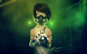 Picture flowers, watch, art, girl, gas mask, mezamero