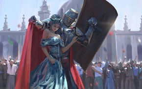 Picture girl, elf, the crowd, armor, crown, art, shield, knight, wlop
