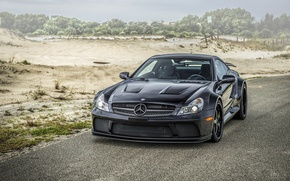 Picture road, black, tuning, car, body, Mercedes-Benz SL, sports, easy, classic Roadster, Mercedes-Benz SL, a two-door …