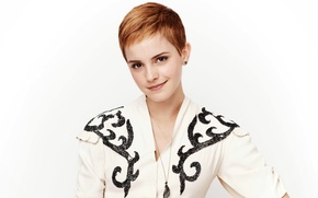 Picture smile, patterns, model, makeup, dress, actress, hairstyle, white background, brown hair, beauty, Emma Watson, Emma …