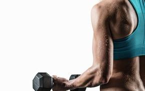 Wallpaper fitness, sweat, dumbbell, woman