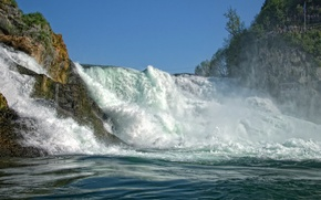 Picture rocks, stream, Switzerland, Switzerland, Rhine Falls, The Rhine falls
