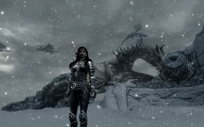 Picture girl, dragons, Skyrim