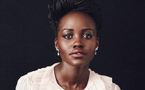 Picture look, face, beauty, actress, lips, black, Afro, lupita nyong'o