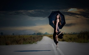 Picture road, clouds, dance, umbrella, girl, ballerina, Pointe shoes