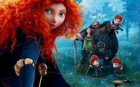 Picture Disney, Queen, Family, Scotland, Princess, Brave, Merida, Movie, Film, Archer, King, Red haired, King Fergus, ...