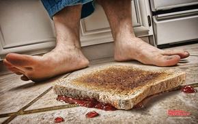Picture feet, floor, sandwich, jam, Murphy's law