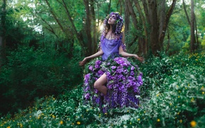 Picture forest, girl, flowers, clothing, makeup, Fantastic vision