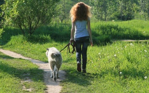 Picture girl, smile, mood, dog, walk, friends, go
