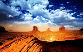 Picture rocks, desert, Clouds