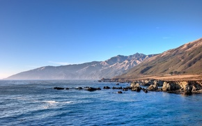 Wallpaper water, mountains, the coast, the ocean, the sky, blue, CA