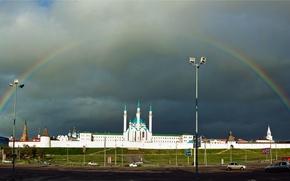 Picture clouds, rainbow, mosque, Kazan, Tatarstan, Kul-Sharif, the Kazan Kremlin