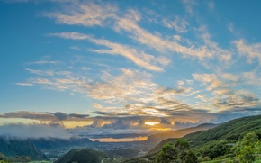 Picture the sky, clouds, sunset, mountains, valley, glow