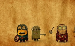 Picture iron man, Hulk, Thor, captain America, minions, the Avengers, The Avengers, Despicable avengers