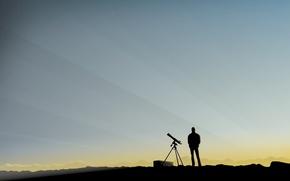 Wallpaper minimalism, people, the sky, spyglass, observation