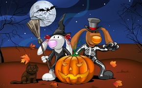 Wallpaper cat, leaves, night, animals, tree, the moon, art, skeleton, Halloween, pumpkin, bat, Halloween, witch, costumes
