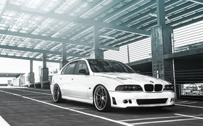 Picture white, BMW, white, sedan, tuning, 5 series, bmw m5, e39