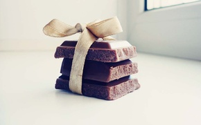 Picture macro, gift, tile, chocolate, sweets, light background, bow, macro, sweet, chocolate, sweet, gift