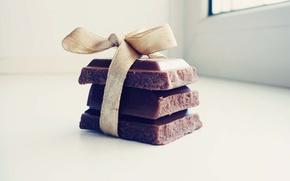Wallpaper macro, gift, tile, chocolate, sweets, light background, bow, macro, sweet, chocolate, sweet, gift