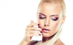 Picture face, eyelashes, model, hair, hand, makeup, blonde, white background, shadows, manicure
