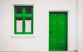 Picture green, house, wall, the door, window