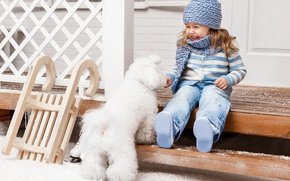 Picture winter, snow, joy, hat, child, dog, ladder, girl, sled, Winter, beautiful, snow, Dogs, Little girls