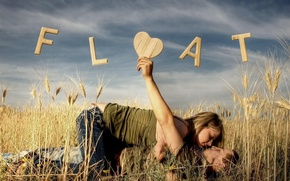 Wallpaper girl, field, guy, attraction, love, the inscription
